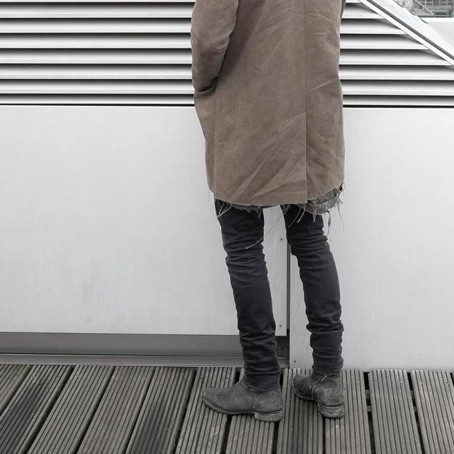 2016 Mar 24 guy in frayed gray trench