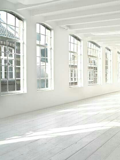 Loft - empty, white, lots of windows