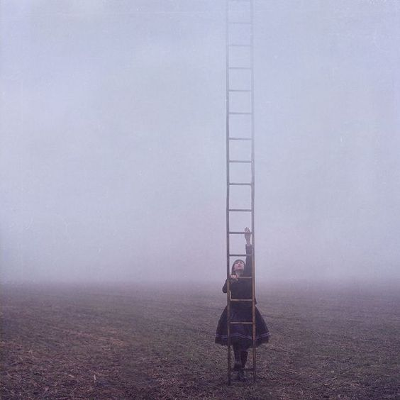 girl climbing ladder -