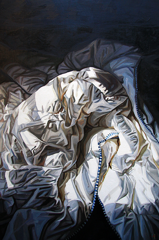 "Heather Horton, ""Cocoon"", oil on panel, 36″x24″, available at Abbozzo Gallery."