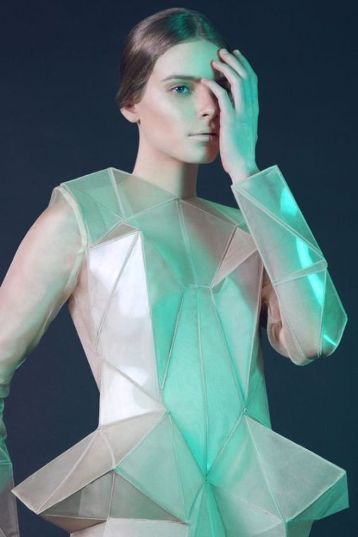 Irina Shaposhnikova developed a collection of garments with geometrical facets