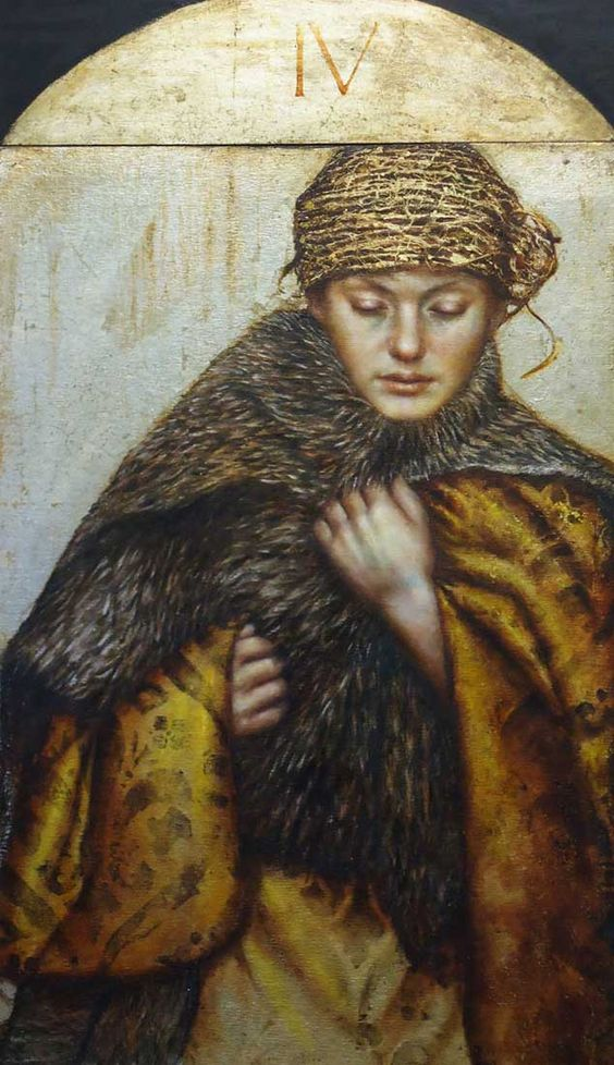 "Pam Hawkes, ""Winter"", Oil beeswax and metal leaf on board"